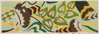 Large pattern of flowers and leaves in yellow and mint green.