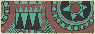 Roundels with starbursts and other geometric shapes in green, brown, and black.