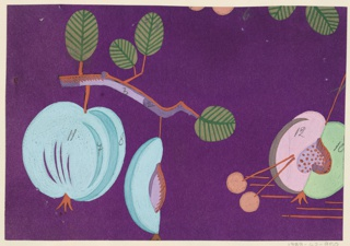 Peaches on branches in purple, aqua, green, and pink.