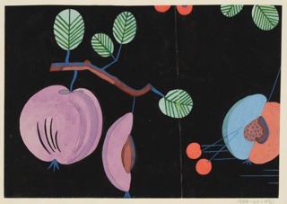 Peaches on branches in black, lavender, peach, and blue.