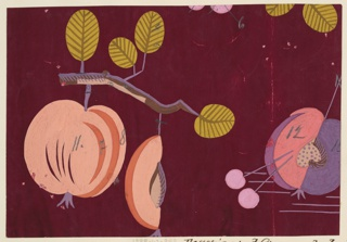 Peaches on branches in maroon, pale orange, purple, and coral.