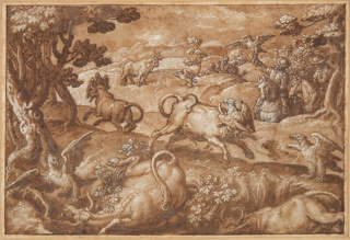 In a landscape of rolling terrain, men use birds to hunt wild bulls. Trees frame the composition at left and right, and the hunters appear on horseback in the background at right. Two bulls have fallen in the foreground, while others gallop through the center of the image. The birds—traditionally identified as falcons, although possibly eagles—alight on the heads of their prey, likely blinding them. This hunting method is probably described in an as yet unidentified ancient text.