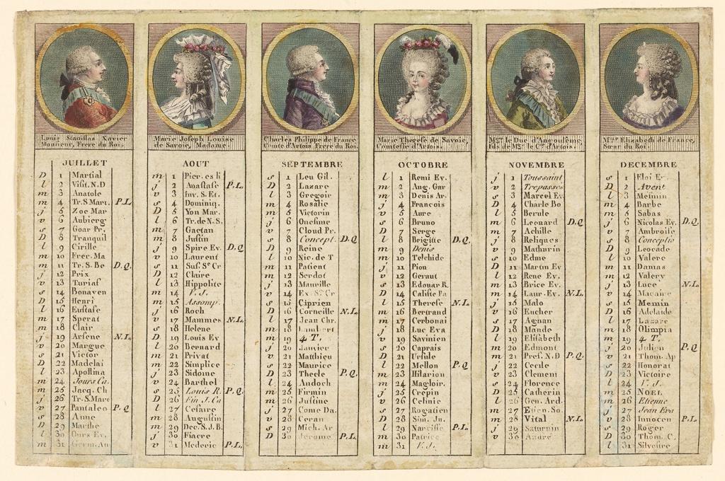 """Scheme as -5. Represented are: Louis XVIII """"Louis Stanislas Xavier / Monsieur, Frere du Roi"""" (1755-1824); his wife """"Marie Joseph Louise / de Savoir, Madame.""""; """"Charles [X] Philippe de France / Comte d'Artois Frere due Roi"""" (1857-1836); his wife """"Marie Therese de Savoire, / Comtesse d'Artois""""; their son """"Mgr le Duc d'Angoulême, / fils de Mgr le Cte. d'Artois"""" (1775-1844); princess """"Mlle Elizabeth de France, / Soeur du Roi""""."""