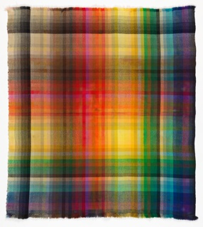 Blanket in a bright multicolored plaid pattern.