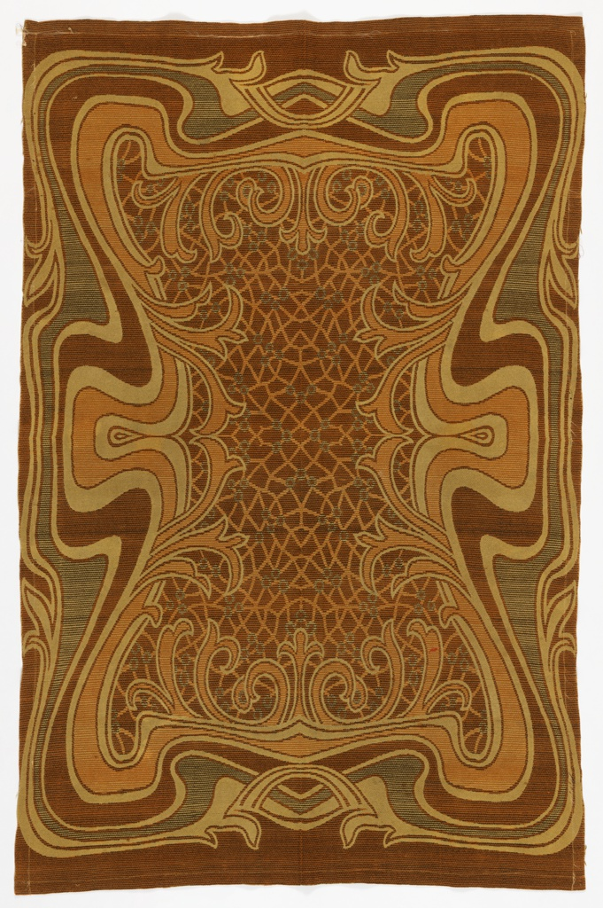 Art Nouveau style brown blanket with a swirling, almost psychedelic, outer border of dark brown, light brown, rust and burnt orange. Center has a craquelure pattern of rust and orange.