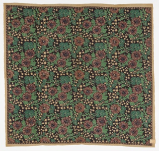 Printed length with a dark maroon, dark green, dark blue and black floral pattern on a tan ground fabric. Label from the Popular Shop in New York City refers to it as a German print tablecloth.