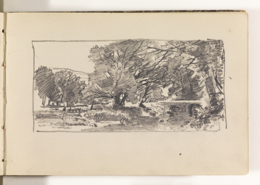 Sketch of shady, heavily-wooded countryside.