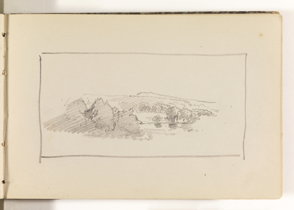 Unfinished study of countryside. In left middleground, three large, bushy trees. In distance at right, a pond with additional trees and a hill behind it.