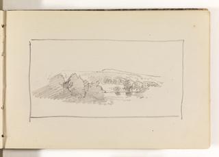 Sketchbook Folio, Unfinished Landscape with Large Trees, Pond and Hills, 1870–85