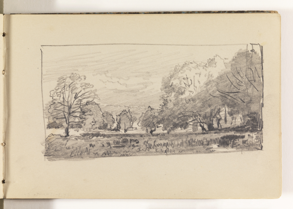 Sketch of countryside. Large trees at right, extending back in a row. Additional trees at left in middleground and background.