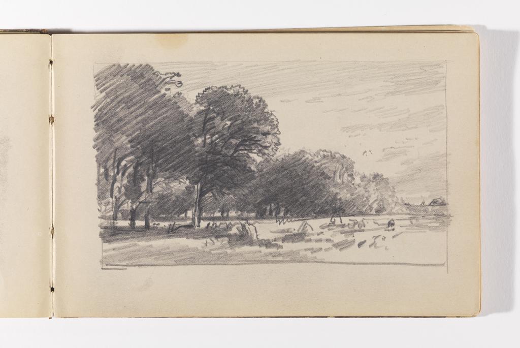 Sketchbook Folio, Landscape with Large, Dark Trees and Haystacks, probably Newport