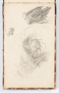 Sketches of heads and figures, crossed out. Verso: sketches crossed out; lower right, sketch of knight with sheath holding a broken sword.