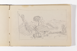 Recto: Quick sketch with two hills at left and one in distance at right. On top of second hill on left, one (or two) trees;  Verso: Unfinished sketch; horizon line with two trees at left, bent as if blown by wind.