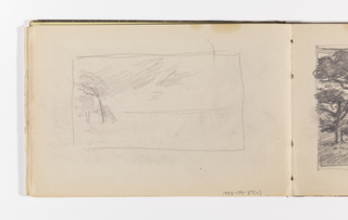 Sketchbook Folio, Unfinished Landscape Sketch (Recto); Quick Sketch of Trees in Wind (Verso)