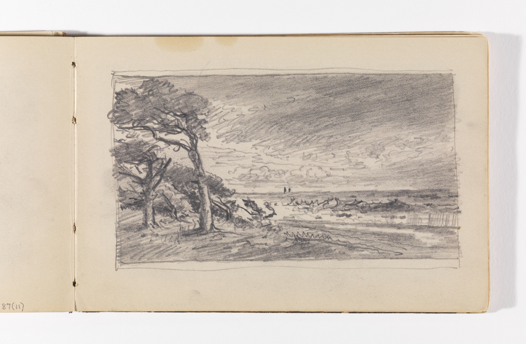 Sketchbook Folio, Shoreline with Trees in Wind and Distant Boats