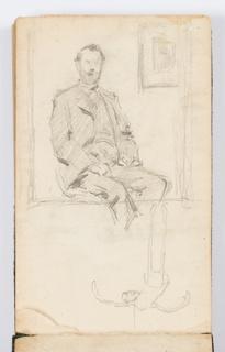 Sketchbook Folio, Sketchbook Page: Portrait of Man, Marionette Puppet