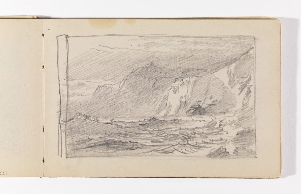Sketch of choppy waves crashing against steep cliffs in three sections at right.