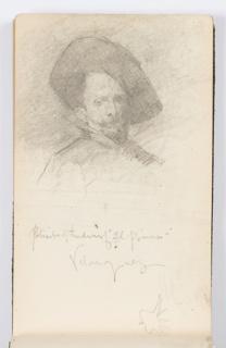 """Sketchbook Folio, Sketchbook Page: Portrait of """"El Primo,"""" After Velázquez"""