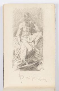 Sketchbook Folio, Sketchbook Page: Mars Resting, After Velázquez