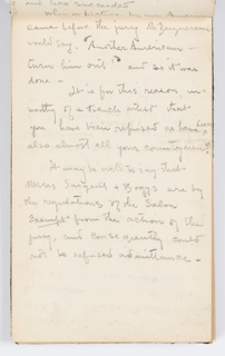 Recto: Copy of letter about refusal from Salon (continuation from preceding page).  Verso: Sketch of architectural design.