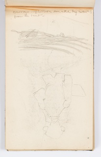 Recto: At right, figure seen from behind from the waist up, likely an artist, holding a pad or palette in left hand with right hand raised. At left, waves and sun, oriented differently.  Verso: Landscape with sun, possibly with boats in foreground.