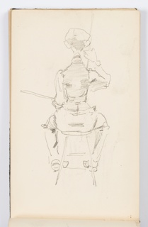 Recto: Sketch of an artist at work at an easel, not pictured. Figure is seen from behind, seated on a stool, with palette in left hand and right hand raised. Verso: Sketch of a landscape.