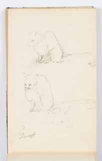 Recto: Two sketches of animal with long tail, with an additional sketch of its head below.  Verso: Sketch of hilly landscape.