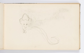 Recto: Sketch of animal, seen frontally with tail curling towards right.  Verso: Sketch of child's head, at left. Sketch of standing figure with oar, at right, oriented differently.