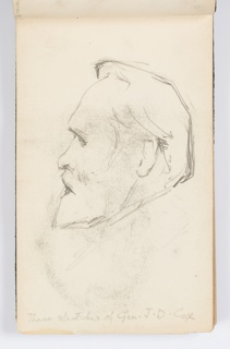 Recto: Sketch of head of man with beard, shown in left profile.  Verso: SKetch of seated man, enframed. Smudged, or transfer from opposite page.
