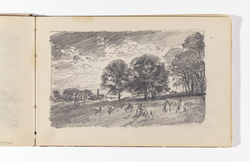 Sketchbook Folio, Countryside with Trees, Haystacks, and Distant Village