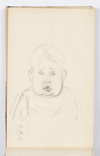 Portrait of child, seen frontally, with wide eyes.