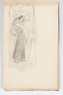 Sketch of a standing figure in a decorative frame.