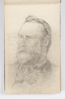 Recto: Portrait of man with a beard, facing slightly to the left. Verso: Outline of architectural detail.