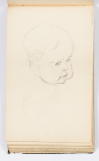 Sketch of a baby's face, looking towards the right.