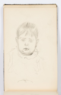 Portrait of a wide-eyed child, seen frontally.