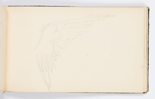 Recto: Sketch of a wing. Verso: Curved outline of the upper edge of a wing.