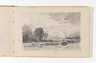Sketchbook Folio, Landscape with Dark Trees, Village, Mountains and Clouds