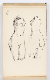 Studies of a woman's torso, from thigh to shoulder, seen from the front and the back.  Possibly a sketch from a cast.