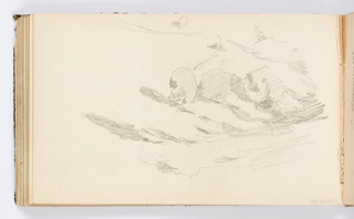 Sketch of a hilly landscape with trees or shrubs.