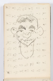 Recto: Caricature of face with large nose and ears, and exaggerated eyebrows, center. Numbers 1 to 77 in background, with letters under each.  Verso: Sketch of a portrait, likely a copy after Velázquez.