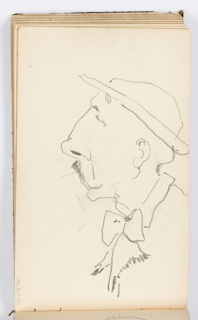Caricature of a man with a hat and mustache in profile, facing left.