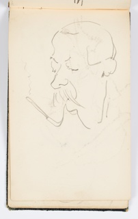 Recto: Caricature of a man smoking a cigarette, facing towards the left.  Verso: Indistinct caricature of a face with exaggerated eyebrows and eyelashes.