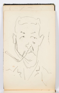 Recto: Sketch of a man with a mustache, facing frontally. Verso: Sketch of a man with exaggerated features, including an over-sized head, large eyes, and a large nose, facing towards the left with his right arm raised, perhaps leaning against something.