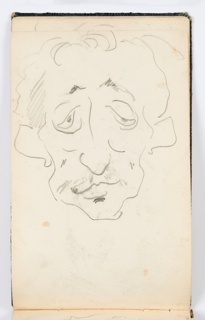 Recto: Caricature of a man with ears sticking out, facing frontally.  Verso: Sketch of the face of a man with a round nose and a mustache.