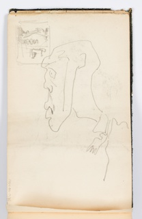 Recto: Caricature of man with large nose and facial hair, in profile. 