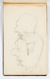 Recto: Two overlapping sketches of a man with a large nose and facial hair, shown in profile, facing left. Verso: Portrait sketch of a figure with bangs, facing frontally.