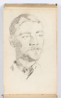 Portrait sketch of a man, facing frontally, looking towards the right.