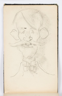 Caricature of a man with a mustache and large ears, facing frontally.