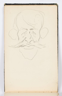 Recto: Caricature of a man with a mustache, facing frontally. Verso: Indistinct sketch, possibly of a landscape.