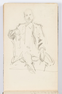 Recto: Sketch of seated man, facing frontally.  Verso: Sketch of the hand of seated figure, resting in his thigh.